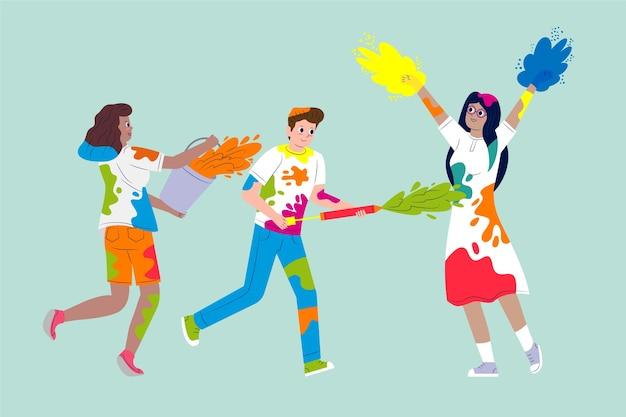 Leute, die holi festivaldesign feiern