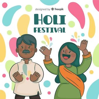 Leute, die holi festivalhintergrund feiern