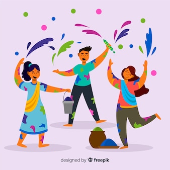 Leute, die holi festivalhintergrund genießen