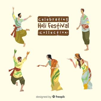 Leute, die holi festivalsammlung feiern