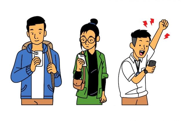 Leute, die ihr telefon mit verschiedenen ausdrücken überprüfen