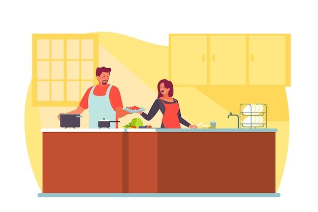 Leute, die illustration kochen