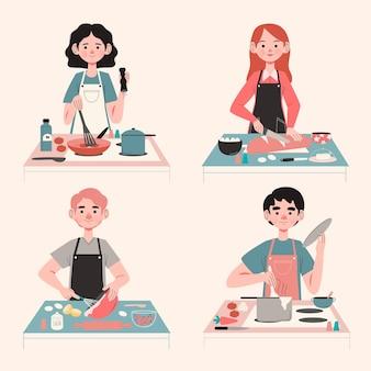 Leute, die illustrationskonzept kochen