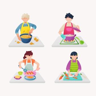 Leute, die illustrationssammlung kochen