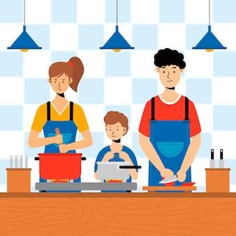 Leute, die illustriertes konzept kochen
