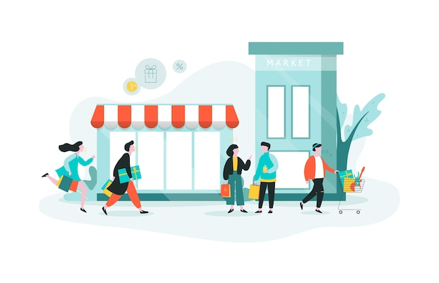 Leute, die im einkaufszentrum einkaufen. in der stadt einkaufen, großer laden