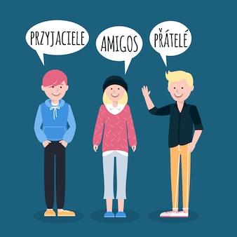Leute, die im flachen design der verschiedenen sprachen sprechen