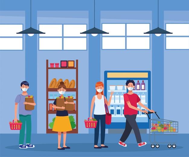 Leute, die im supermarkt mit gesichtsmaske einkaufen Premium Vektoren