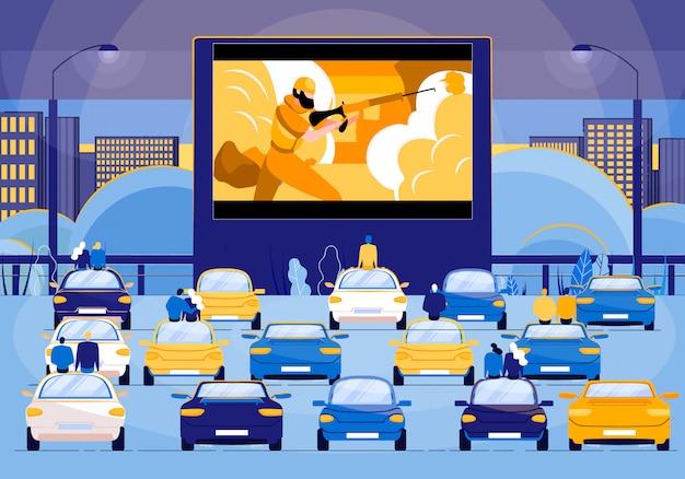 Leute, die in autos sitzen und actionfilm schauen