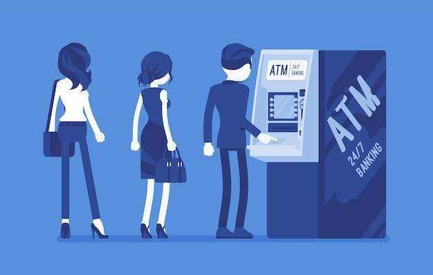 Leute, die in der atm-linie stehen warteschlange in der nähe von geldautomaten, warten auf bankdienstleistungen, elektronische verkaufsstelle, kunden führen grundlegende transaktionen durch. vektorillustration, gesichtslose charaktere