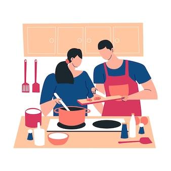 Leute, die in der küche kochen