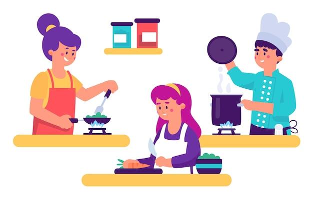 Leute, die in der küchensammlung kochen