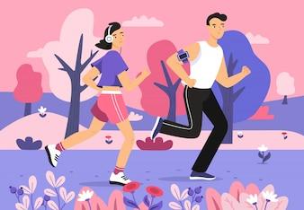 Leute, die in der Parkillustration des laufenden Sportsmarathons des jungen Mannes und der Frau rütteln