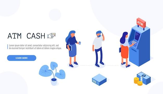 Leute, die in der schlange in der nähe von geldautomaten warten. illustration mit handlungsaufforderung für webvorlage