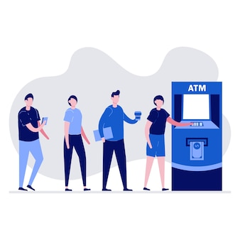 Leute, die in der schlange in der nähe von geldautomaten warten. warteschlange am geldautomaten.