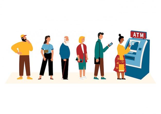 Leute, die in der schlange in der nähe von geldautomaten warten.