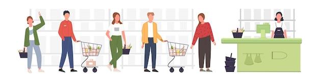 Leute, die in der schlange stehen und im lebensmittelgeschäft warten. männer und frauen warten im einzelhandelsgeschäft oder im supermarkt