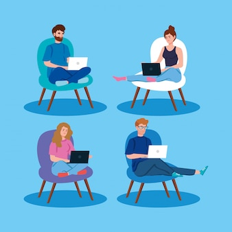 Leute, die in der telearbeit mit laptop arbeiten, der in stühlen sitzt