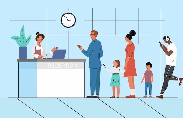 Leute, die in der warteschlangenillustration warten. bankempfang. kunden, kunden, die auf eine beratung mit dem manager-konzept warten.