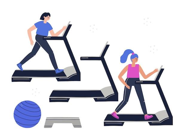 Leute, die in einem fitnessstudio abstand halten. handgezeichnete vektorgrafik für banner, social media. bleiben sie während des trainingskonzepts sicher.