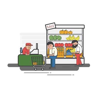 Leute, die in einem gemischtwarenladen kaufen
