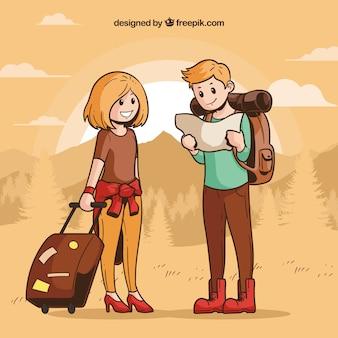 Leute, die in hand gezeichnete art reisen