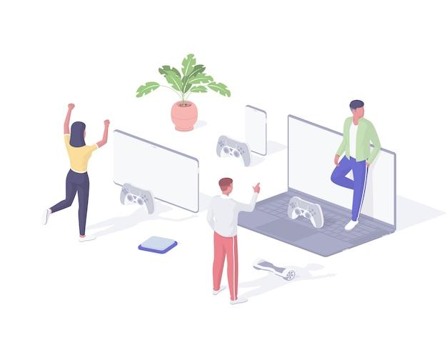 Leute, die isometrische illustration der online-spiele spielen. junge gruppencharaktere spielen computerspiele aus der ferne und kommunizieren über das netzwerk. spaß virtuelle unterhaltung digitale aufregung realistisch.