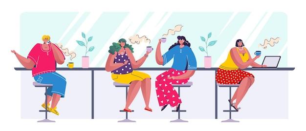 Leute, die kaffee trinken. trendige zeichentrickfiguren, die in der reihe sitzen und sprechen und am laptop arbeiten trinken.