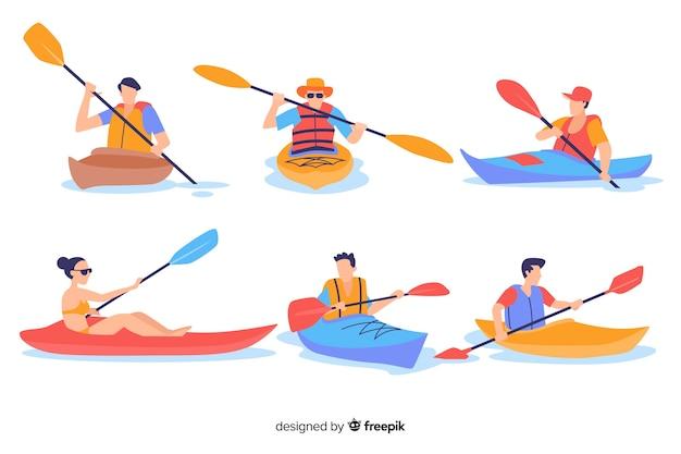 Leute, die kayak fahren