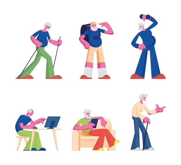 Leute, die kleiderset kaufen. junge und ältere männer frauen, die neue modische kleidung im laden wählen kleidungsstück in der bekleidungsboutique in der mall kaufen. karikatur flache illustration