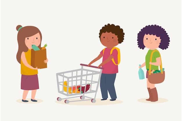 Leute, die lebensmittel einkaufen