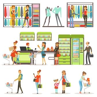 Leute, die lebensmittelprodukte und kleidung im supermarktsatz kaufen, familie, die bunte illustrationen einkauft