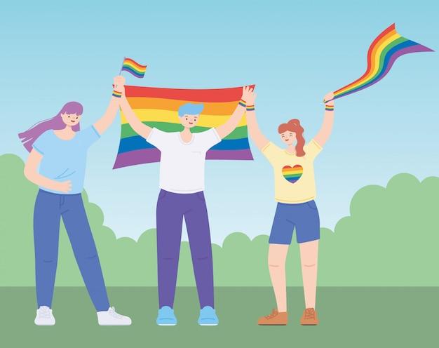 Leute, die lgbtq-flaggen halten