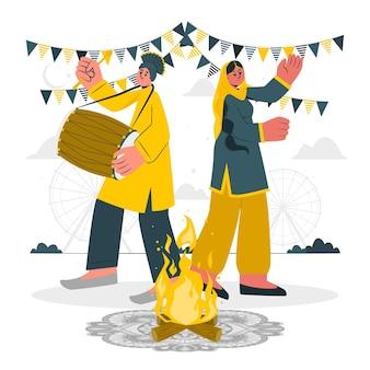 Leute, die lohri festivalkonzeptillustration feiern
