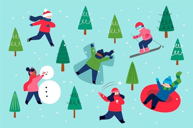 Leute, die lustige winteraktivitäten im freien machen