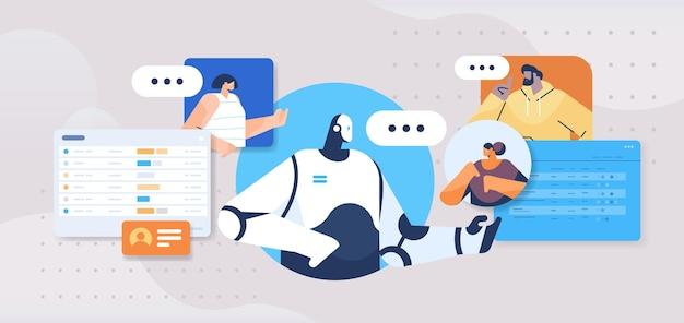 Leute, die mit dem chatbot-roboter-assistenten chatten
