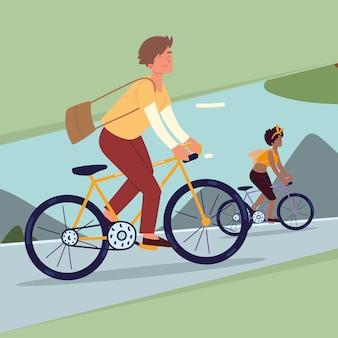 Leute, die mit dem fahrrad fahren