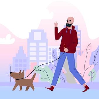 Leute, die mit dem hund spazieren gehen