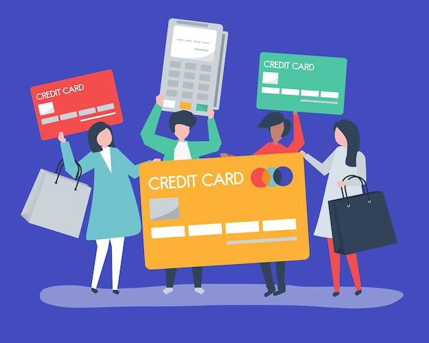 Leute, die mit einer kreditkarte einkaufen