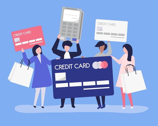 Leute, die mit einer kreditkarte kaufen
