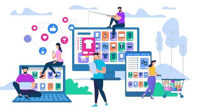 Leute, die mit gadget für online-shopping interagieren