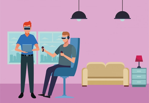 Leute, die mit gläsern der virtuellen realität spielen