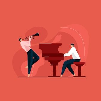 Leute, die musikinstrumente spielen, band von musikern orchester und musikfestivalkonzept