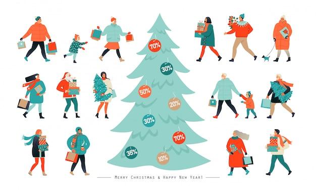 Leute, die nach dem einkaufen gehen und rabattgutscheine von einem weihnachtsbaum abreißen.