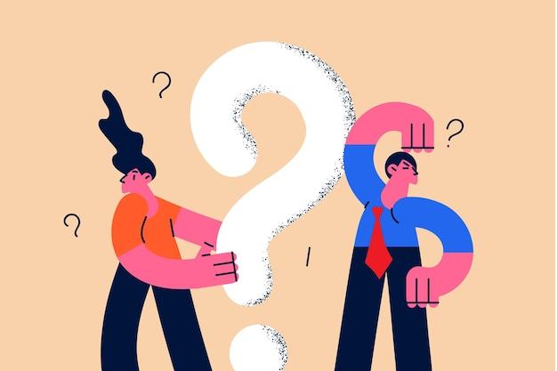 Leute, die nach informationen suchen und nach konzept fragen