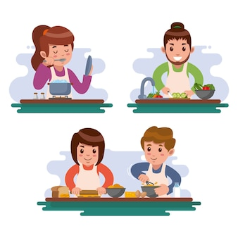 Leute, die neue rezepte ausprobieren und kochen