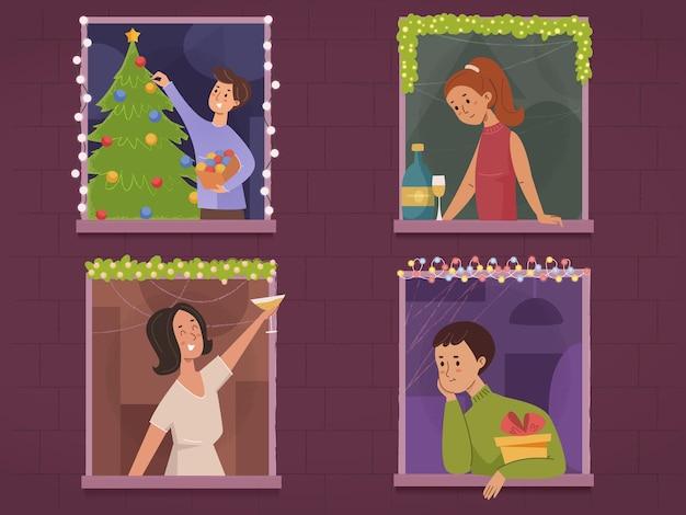 Leute, die neues jahr und weihnachten nachbarn in der frontansicht des fensters feiern