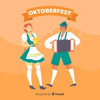 Leute, die oktoberfest-karikaturart feiern