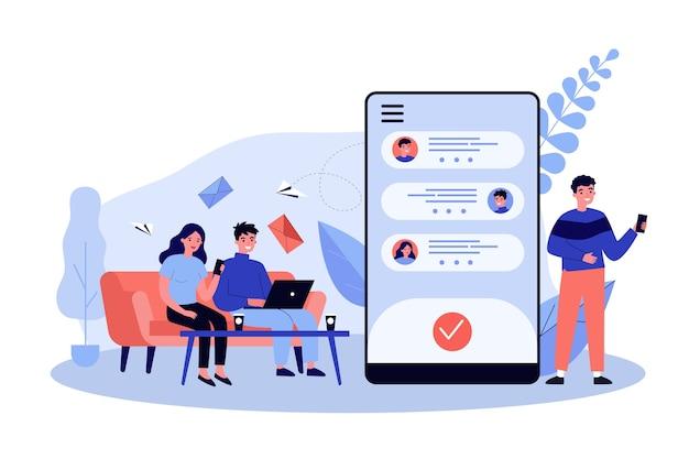 Leute, die online-illustration chatten