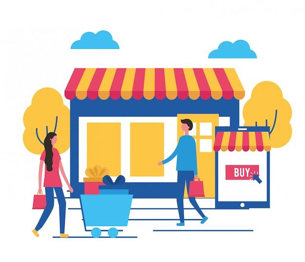 Leute, die online kaufen